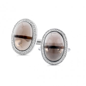 14k White Gold Smokey Quartz Diamond Mens Cuff Links