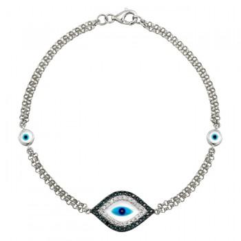 14k White Gold Diamond Sapphire Evil Eye Bracelet
