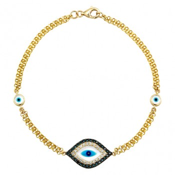 14k Yellow Gold Diamond Sapphire Evil Eye Bracelet