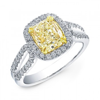 18k White and Yellow Gold Fancy Yellow Cushion Diamond Ring