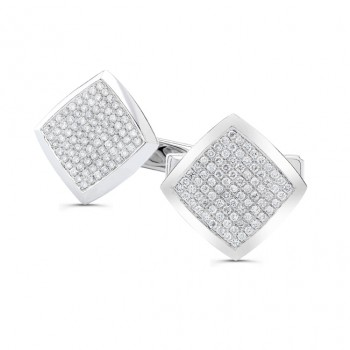 14k White Gold Mens Pave Diamond Square Cuff Links