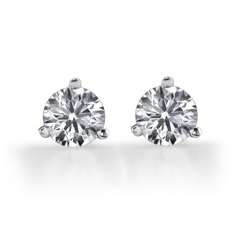 14k White Gold Diamond Stud Earrings 3/4 ct Total Weight