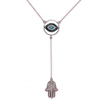 Rose Gold Evil Eye-Hamsa Necklace