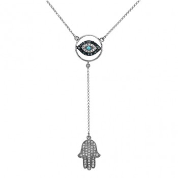 14k White Gold Hamsa Evil Eye Blue Diamond Necklace
