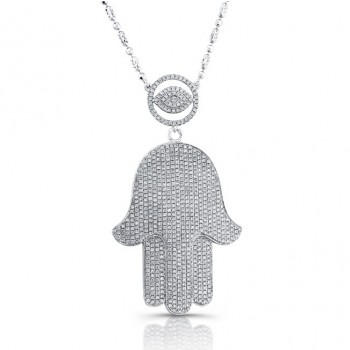 14k White Gold Diamond Evil Eye-Hamsa Necklace