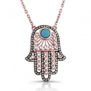 14K Rose Gold Vintage Hamsa Necklace