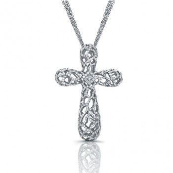 Diamond Cross Woven Filigree Design Pendant