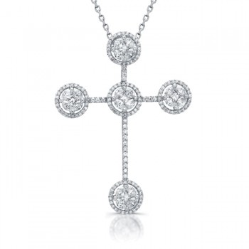 14kt Diamond Cross Cluster Pendant