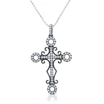 Black Rhodium  Antique Diamond Cross