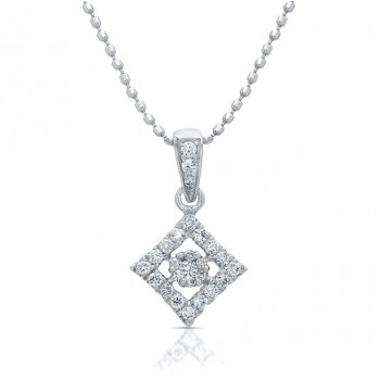 14kt White Gold Diamond Cluster Pendant 1/6 Carat TW