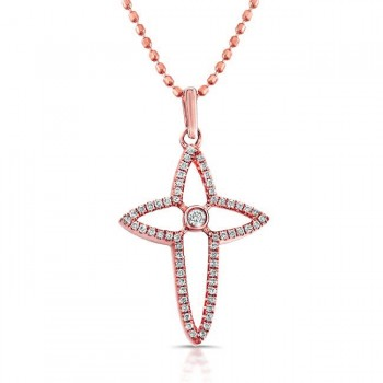 14k Rose Diamond Cross Bezel Set Center