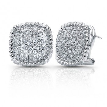 14kt White Diamond Pave Earrings With Rope Trim