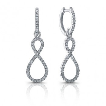 14k White Diamond Hoops With Infinity Dangle Charms