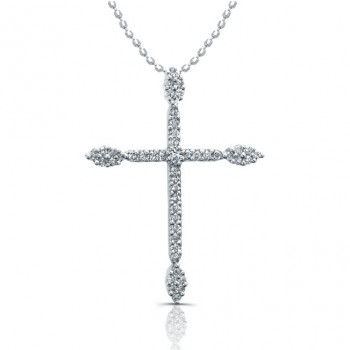 14K White Diamond Cross Pendant 1/3 Carat Total Weight