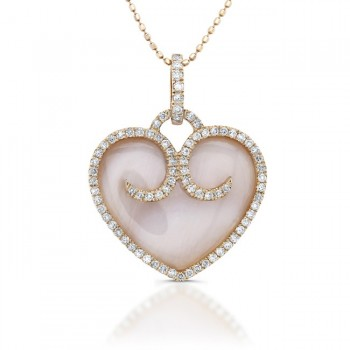 14kt Rose Gold - Mother Of Pearl Diamond Heart Pendant