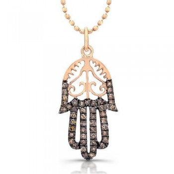 Rose Hamsa Diamond Pendant Vintage Design