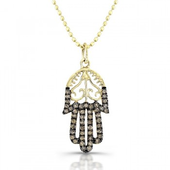 Diamond Hamsa Pendant Vintage Design 14K Yellow
