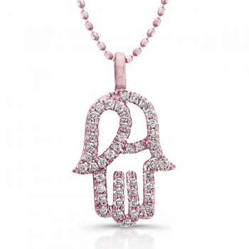 Modern Diamond Hamsa Pendant- 14K Rose Gold No Chain