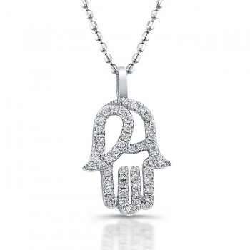 Diamond Hamsa Pendant- 14K White Gold