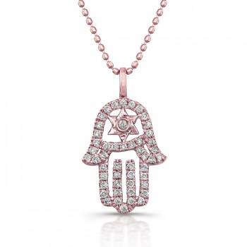 Rose Gold Diamond Hamsa-Star Of David Necklace