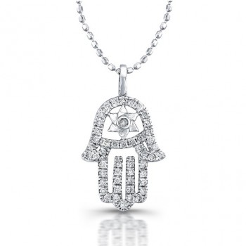 Diamond Hamsa-Star Of David Necklace 14K White