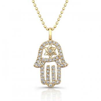 Diamond Hamsa-Star Of David Necklace 14K Yellow