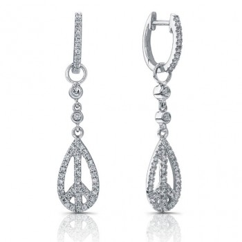 14k White Gold Peace Sign  Diamond Earrings