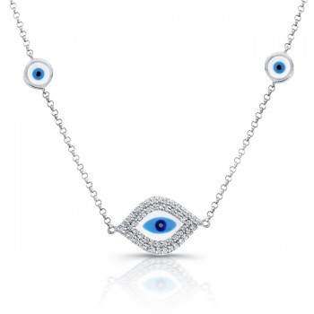14k WG White-Blue Enamel Evil Eye Necklace