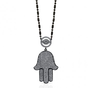 Black Rhodium Gold Diamond Evil Eye-Hamsa Necklace 1.50Carats
