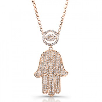 14k Rose Diamond-Hamsa Necklace  5/8Carats
