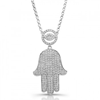 14k White Diamond-Hamsa Necklace 5/8Carats