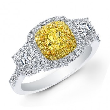 18k White and Yellow Gold Fancy Yellow Diamond Engagement Ring