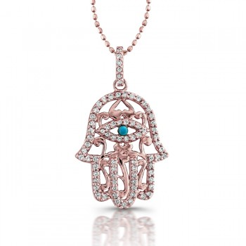 Rose Gold Hamsa Necklace With Tourquoise