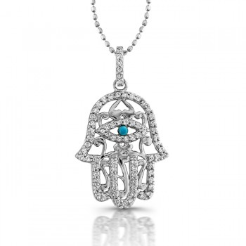 White Gold Hamsa Necklace With Tourquoise