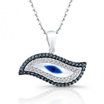 White Gold Swirl Evil Eye Necklace