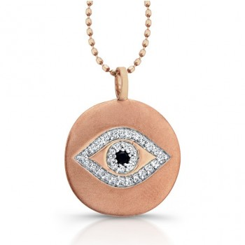 14k Rose Gold Disc Evil Eye Diamond Necklace
