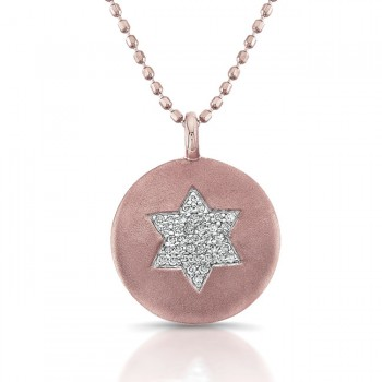 14K Rose Star Of David Diamond Disc Pendant