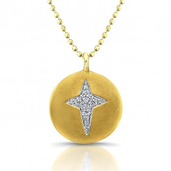 14K Yellow Diamond Disc Cross Necklace