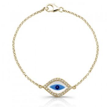 Yellow Gold Enamel Evil Eye Bracelet