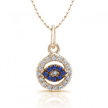 14k Yellow Gold Baby Evil Eye Pendant