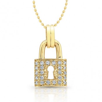 14kt Yellow Gold Classic Diamond Lock Pendant