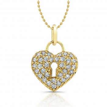 14kt Yellow Diamond Lock  Heart  Pendant