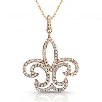 14K Rose Fleur-De-Lis Diamond Pendant