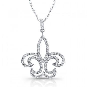 14K White Fleur-De-Lis Diamond Pendant