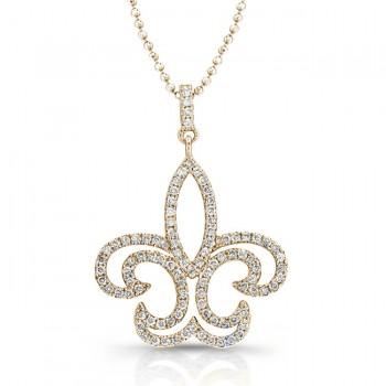 14K Yellow Fleur-De-Lis Diamond Pendant