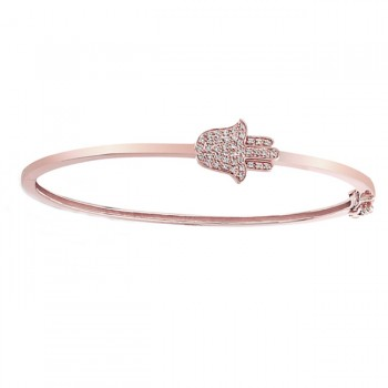 14k Rose Gold Hamsa Bangle