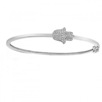 White Gold Diamond Hamsa Bracelet Bangle