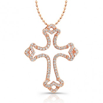 14K Rose Diamond Cross Pendant With Scalloped Edges