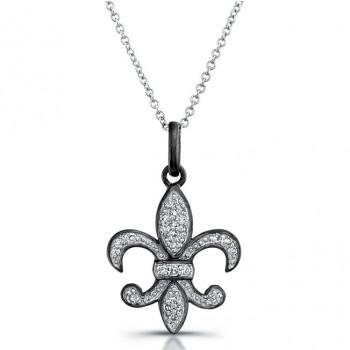 Fleur-De-Lis Diamond Pendant Black Rhodium