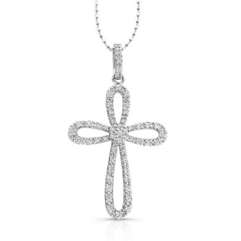14k White  Diamond Cross Pendant: Cluster Center